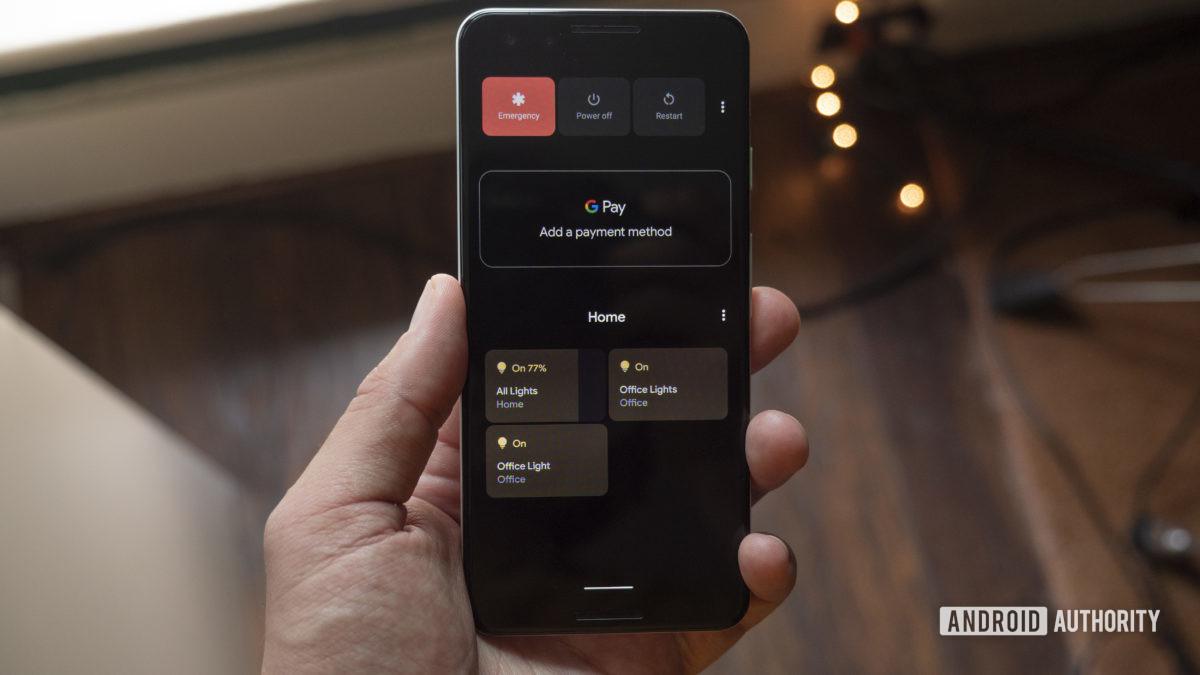 android 11 beta home control power menu