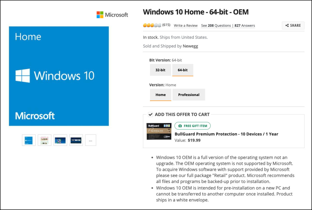 newegg windows 10 oem listing