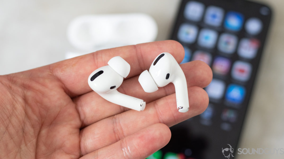 Apple AirPods Pro earbuds iPhone hand
