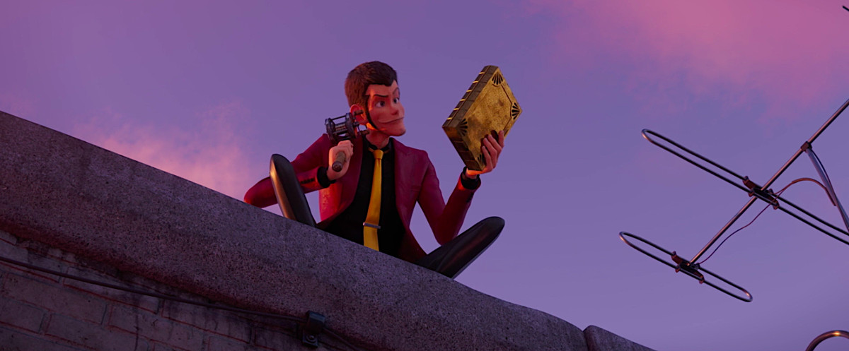 Lupin sits on a rooftop with a fishing pole and the priceless book he just retrieved with it in Lupin the 3rd: The First