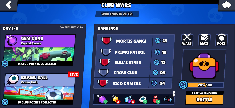 Club Wars UI : Brawlstars