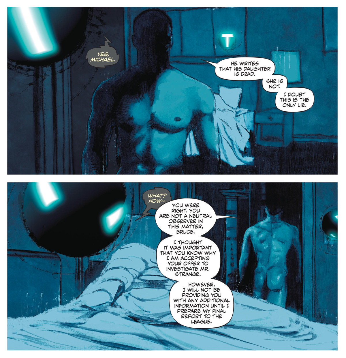 Naked, Mister Terrific gets out of bed in the dark of night, and walks to another room. Over comms, he tells Batman that there are holes in Adam Strange's story, and he's accepting Batman's request to investigate him, in Strange Adventures #2, DC Comics (2020).