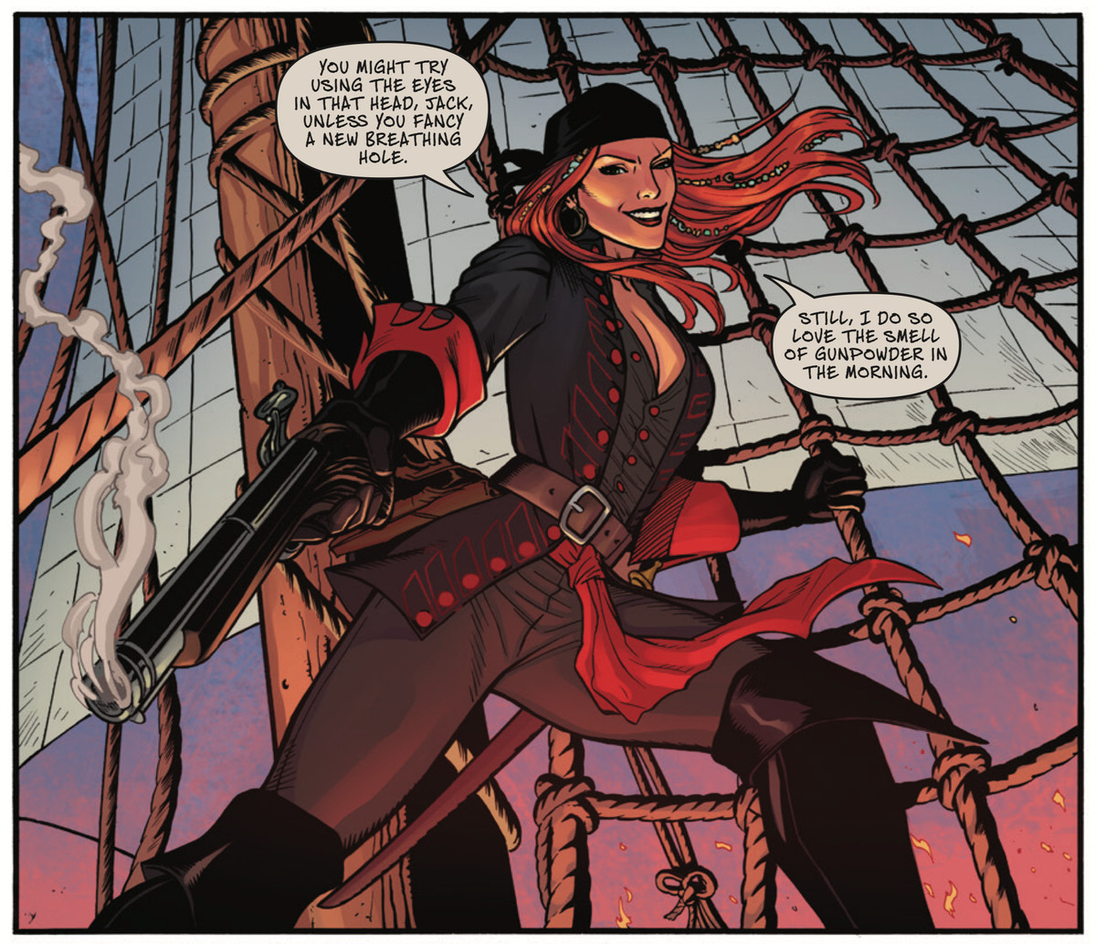 """Hair blowing in the ocean breeze, pirate extraordinaire Anne Bonny lowers a smoking pistol, saying """"I do so love the smell of gunpowder in the morning,"""" in A Man Among Ye #1, Image Comics (2020)."""