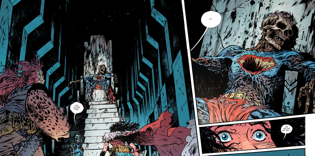 Wonder Woman approaches Superman's mummified corpse in the Fortress of Solitude, and recovers her buried memories of killing him, in Wonder Woman: Dead Earth #3, DC Comics (2020).