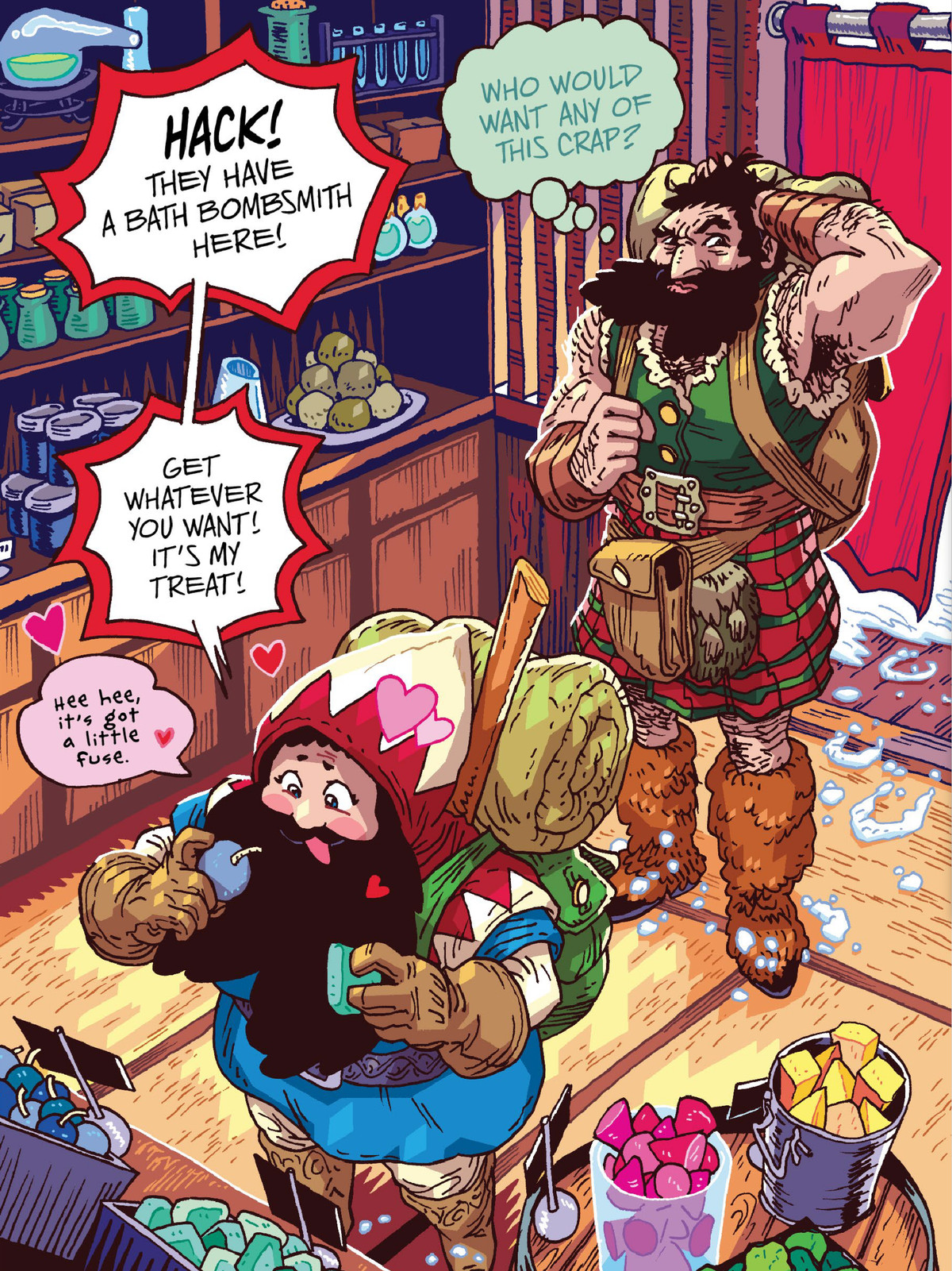 """She Dwarf gushes over the display of soaps and bathbombs at a bath house, exclaiming to her friend Hack Battler, """"Hack! They have a bath bombsmith here!"""" in The Savage Beard of She Dwarf, Oni Press (2020)."""