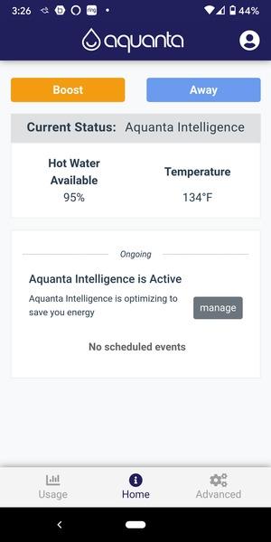 aquanta water avail and temp