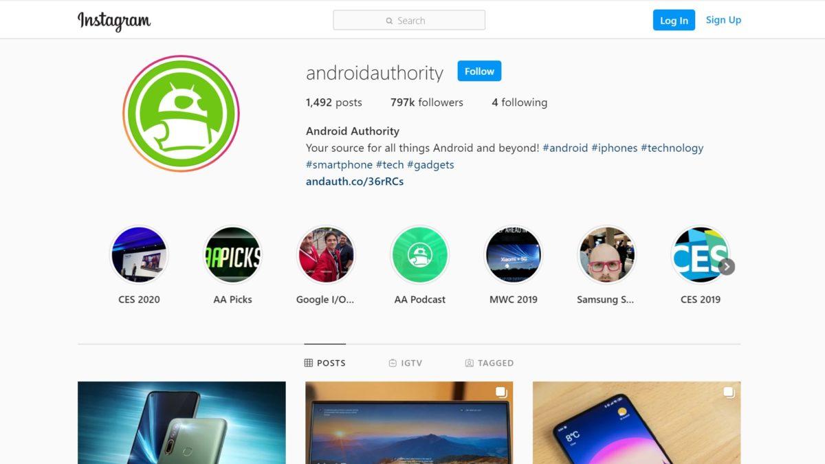 Instagram web interface