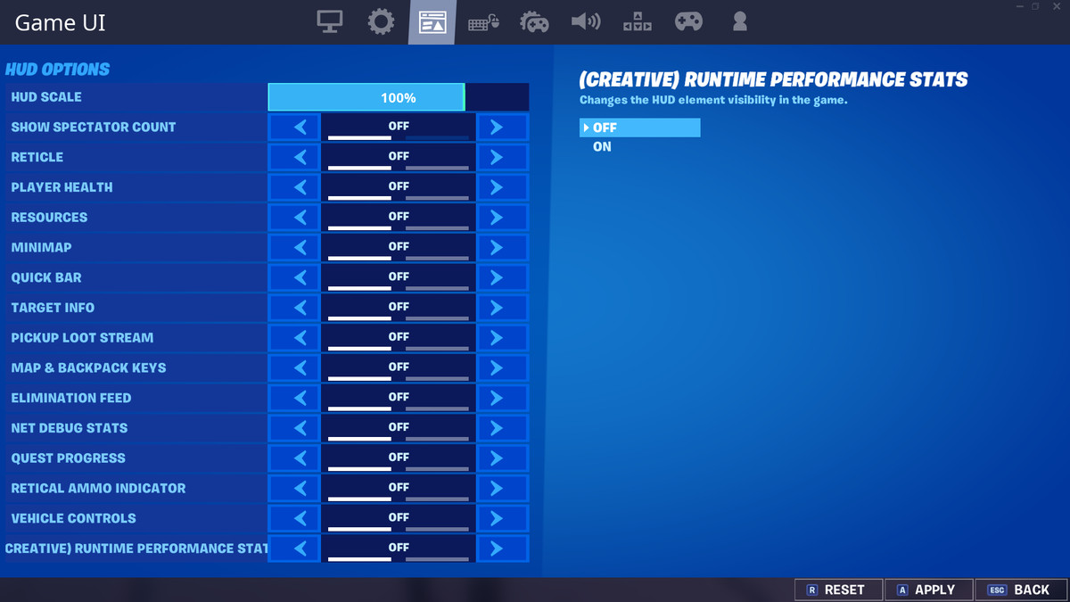 Fortnite's Game UI menu with the entire HUD toggled off