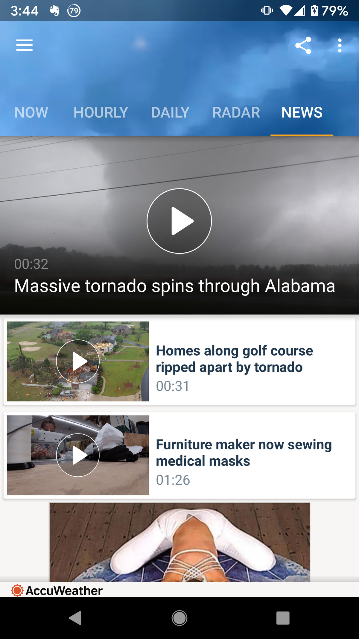 A news section offers videos on the latest weather-related disasters.