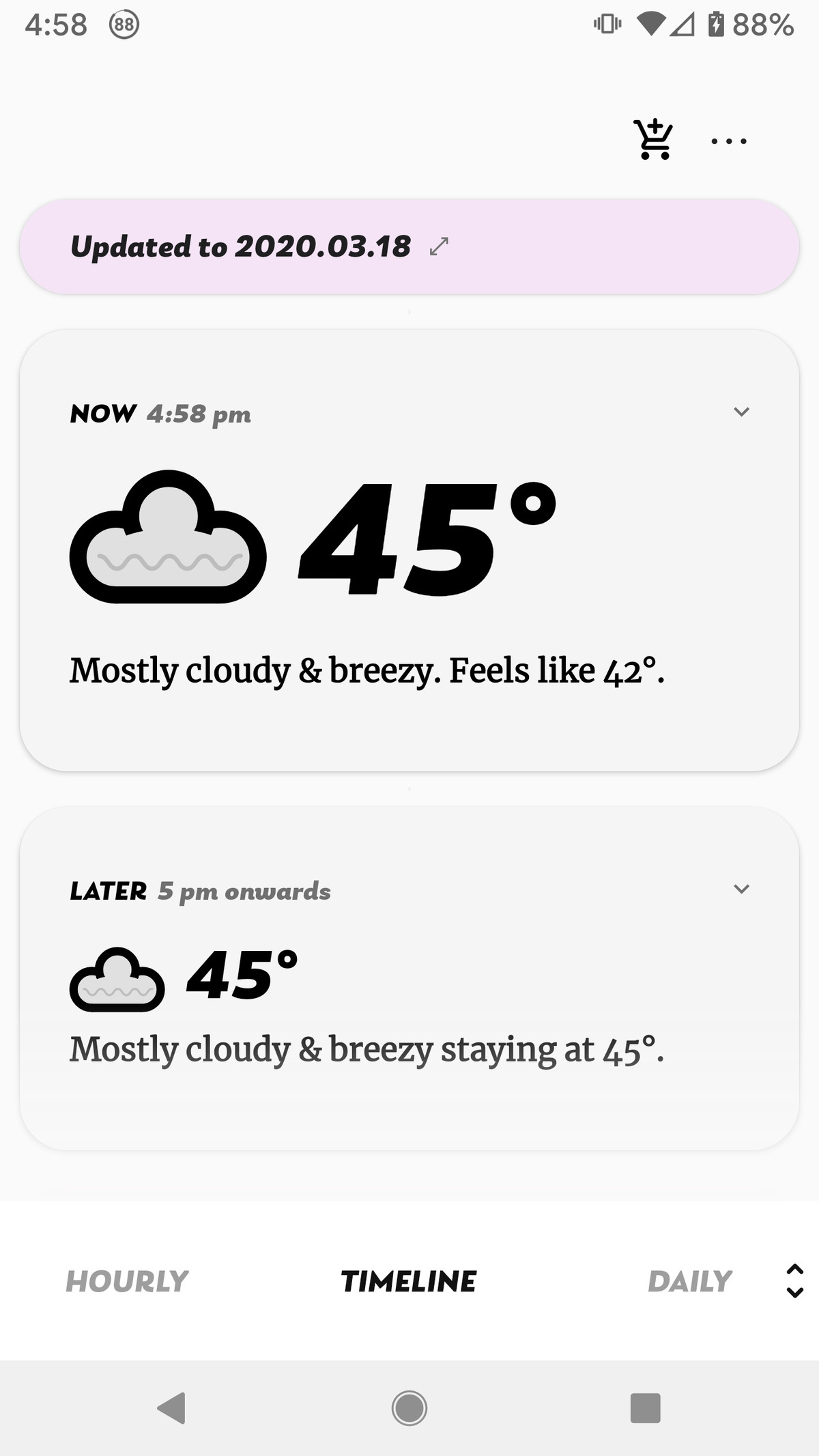 Appy Weather's timeline lets you scroll down to see the current weather and the upcoming forecast.