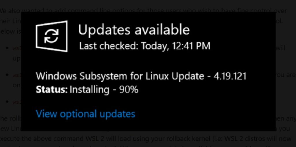 windows susbsystem for linux 2 windows update