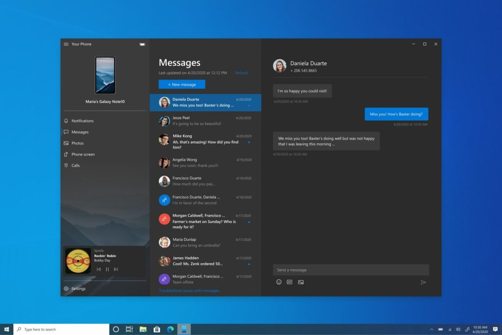 Microsoft rolls out music controls for the Your Phone app in Windows 10