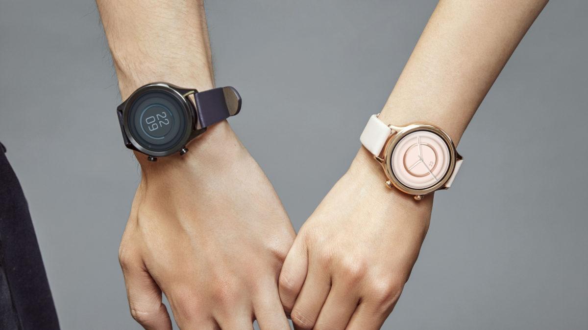 mobvoi ticwatch c2 smartwatch on wrist rose gold onyx