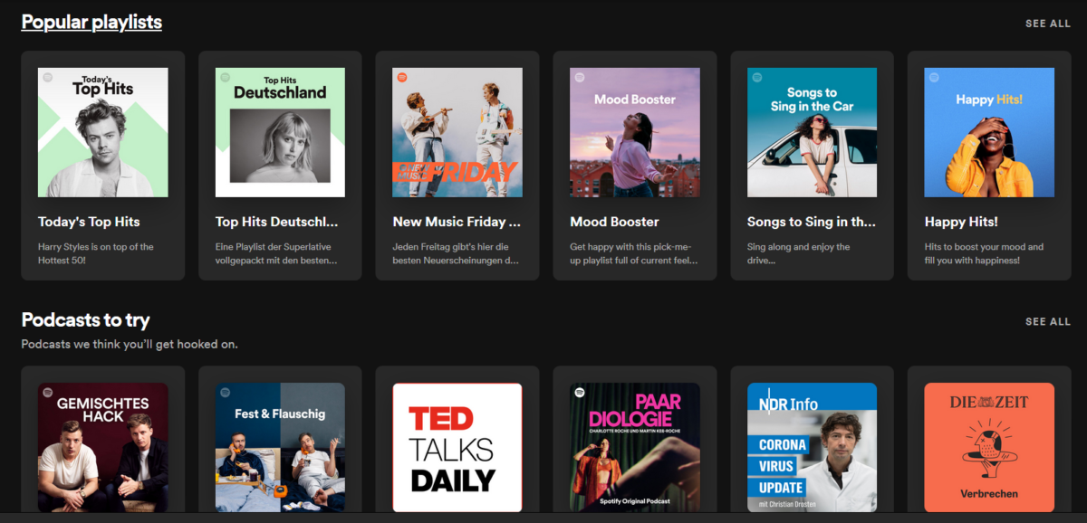 Spotify music home page