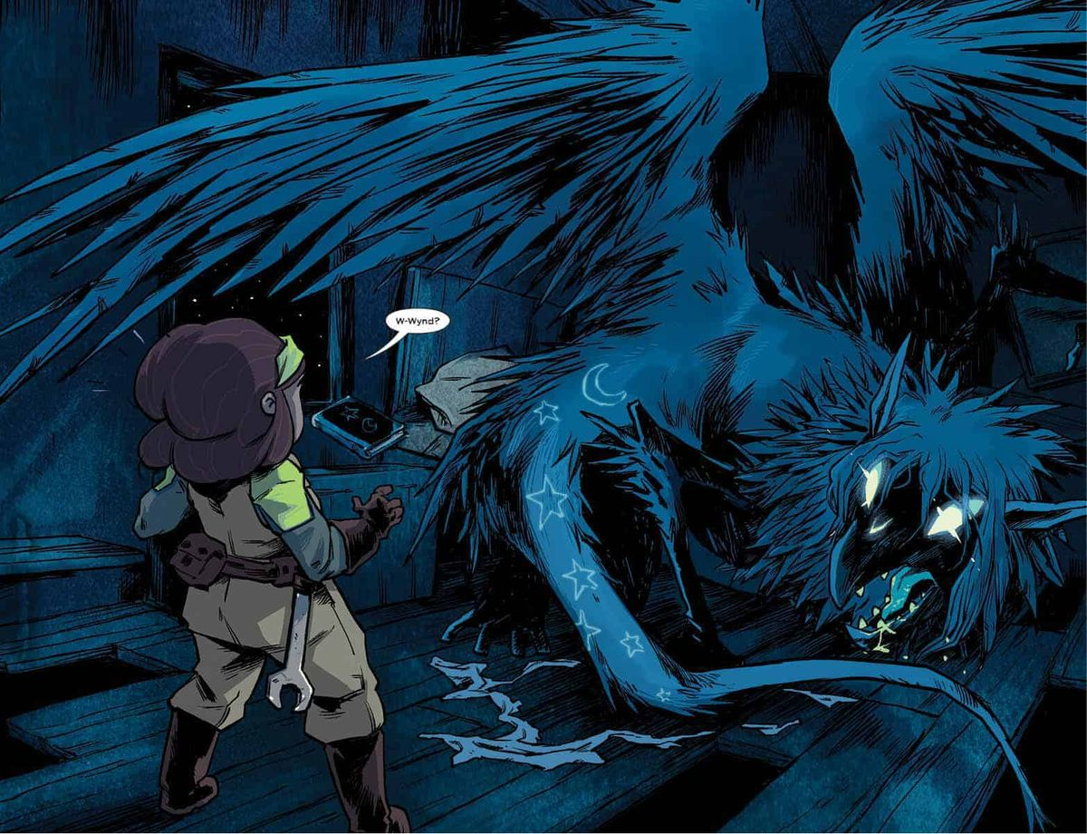 Wynd dreams that he has transformed into a scary winged monster, threatening his friend Oakley, in Wynd #1, Boom Studios (2020).
