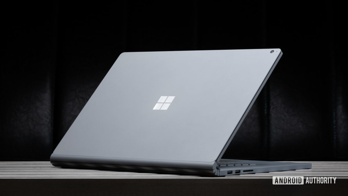 Microsoft Surface Book 3 back of tablet on table