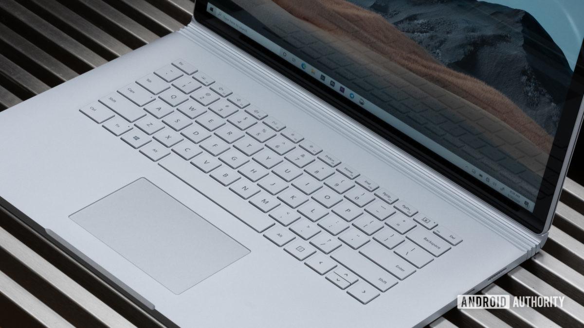 Microsoft Surface Book 3 keyboard below screen