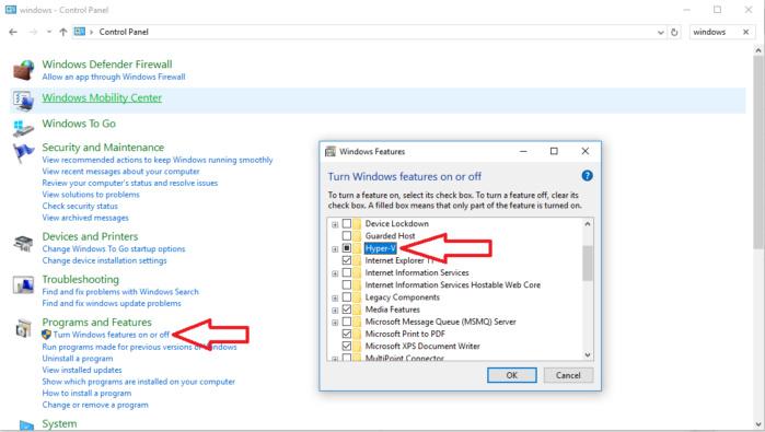 hyper v control panel Windows 10