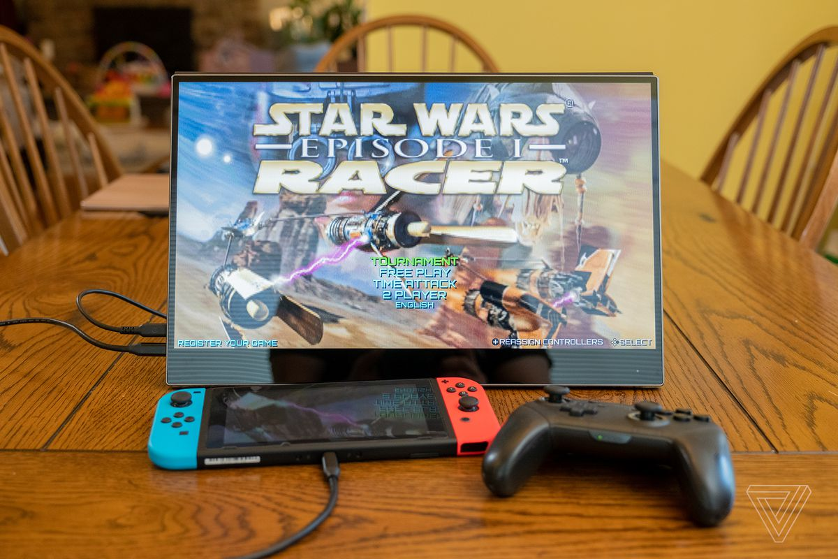 A Nintendo Switch plugged into the Ananta portable display