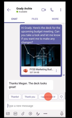 Microsoft teams suggested replies