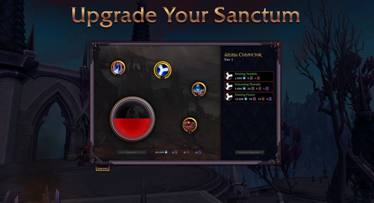 World of Warcraft - a Covenant upgrade screen