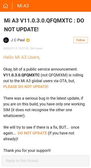 Mi-A3-July-update-bugs