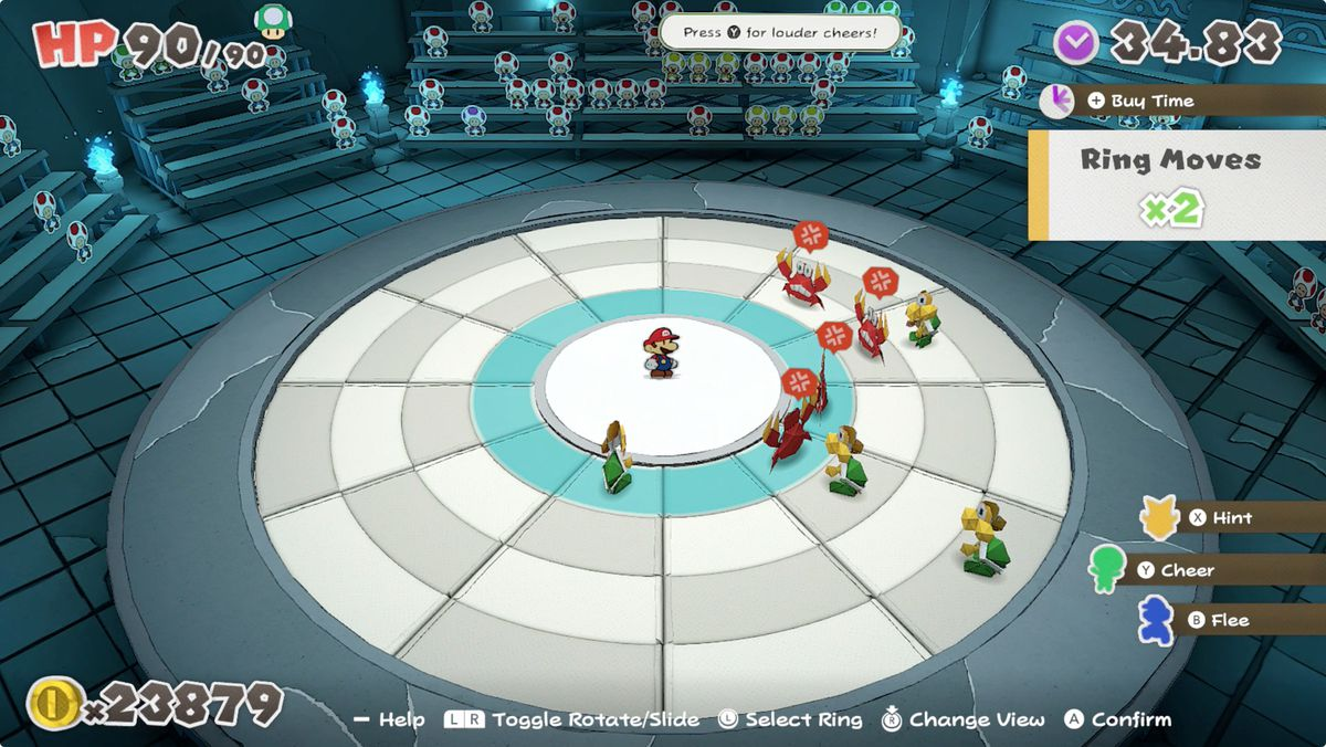 Paper Mario: The Origami King Mario and enemies in the battle arena