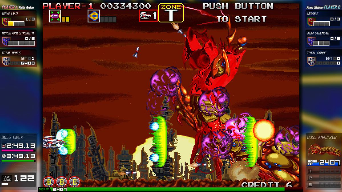A spaceship attacks a giant alien crustacean at sunset in Darius Cozmic Collection on Nintendo Switch.