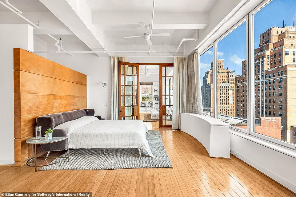 Breathtaking:The main bedroom has an en-suite bathroom with a soaking tub, dressing area and dressing room, as well as a private balcony; there is a corner office/library on the eighth floor