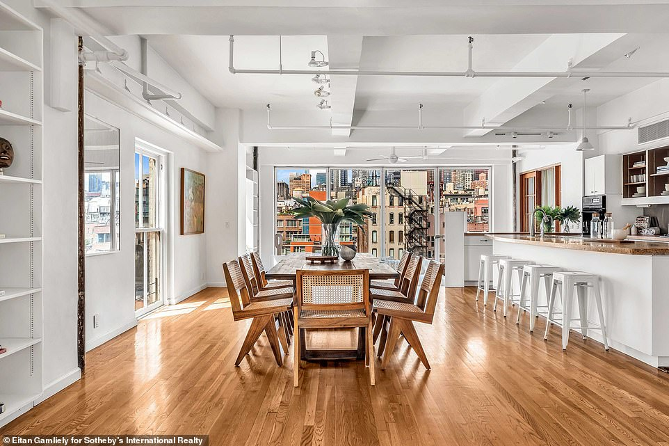 Stunning:The enormous loft property, which Susan purchased in 1991, is located in the Chelsea neighborhood of Manhattan on the seventh and eighth floor of a co-op apartment building