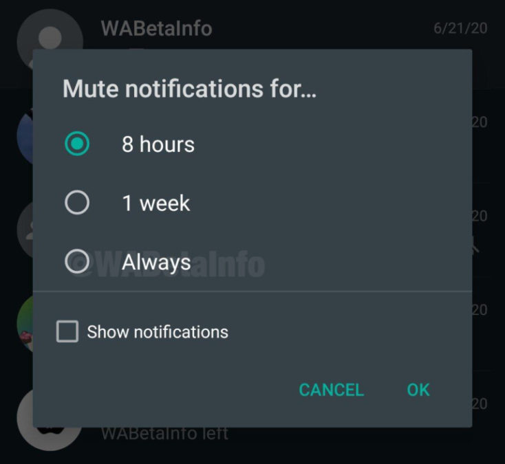 WhatsApp always mute functionality WABetaInfo
