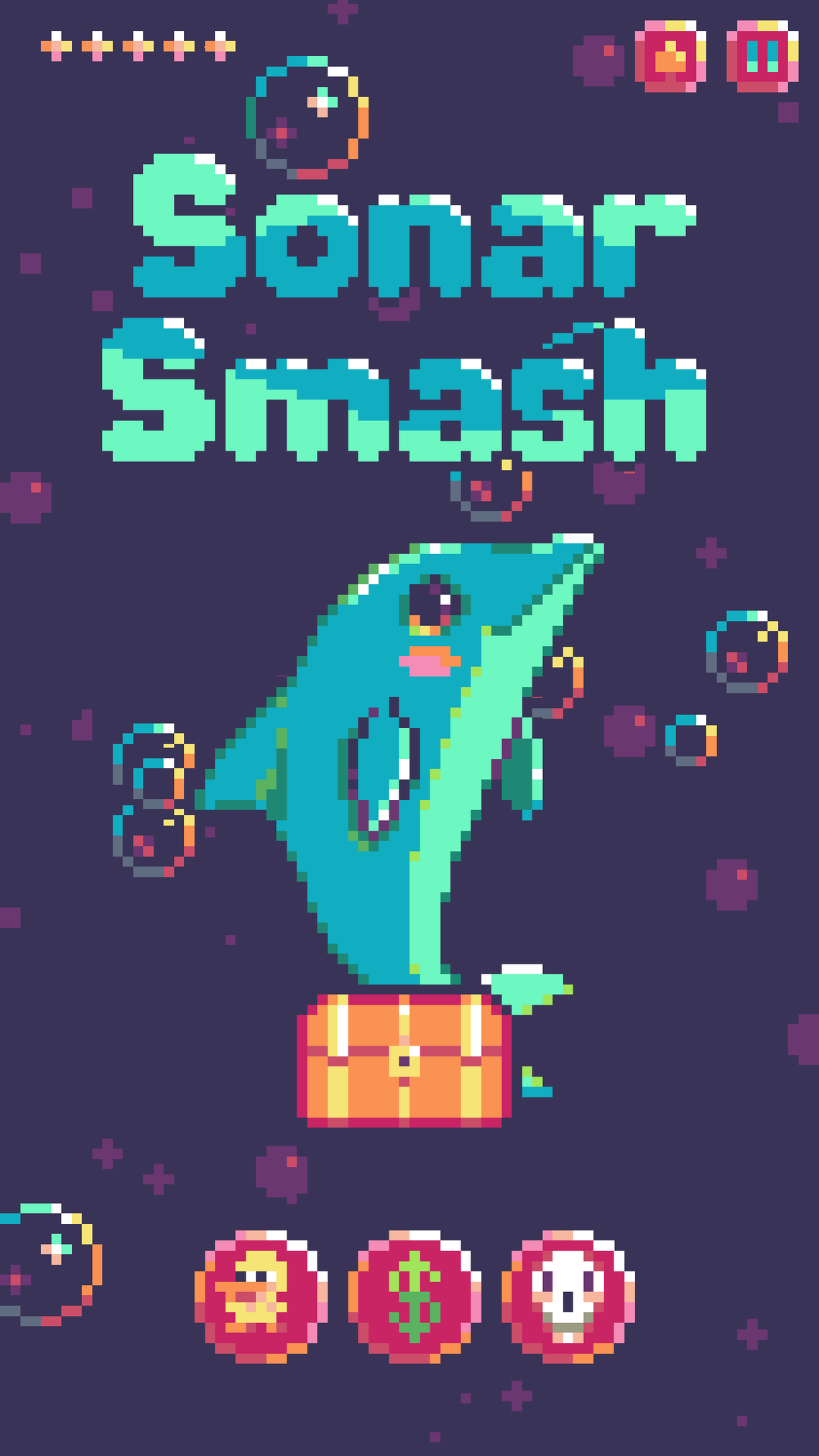 """A screenshot of """"Sonar Smash,"""" a pixel art mobile game created in Detroit Lakes. (Publicity Photo)"""