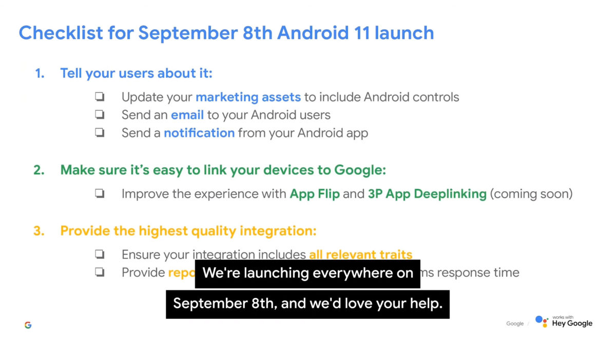 Android 11 launch date via Smart Home Summit