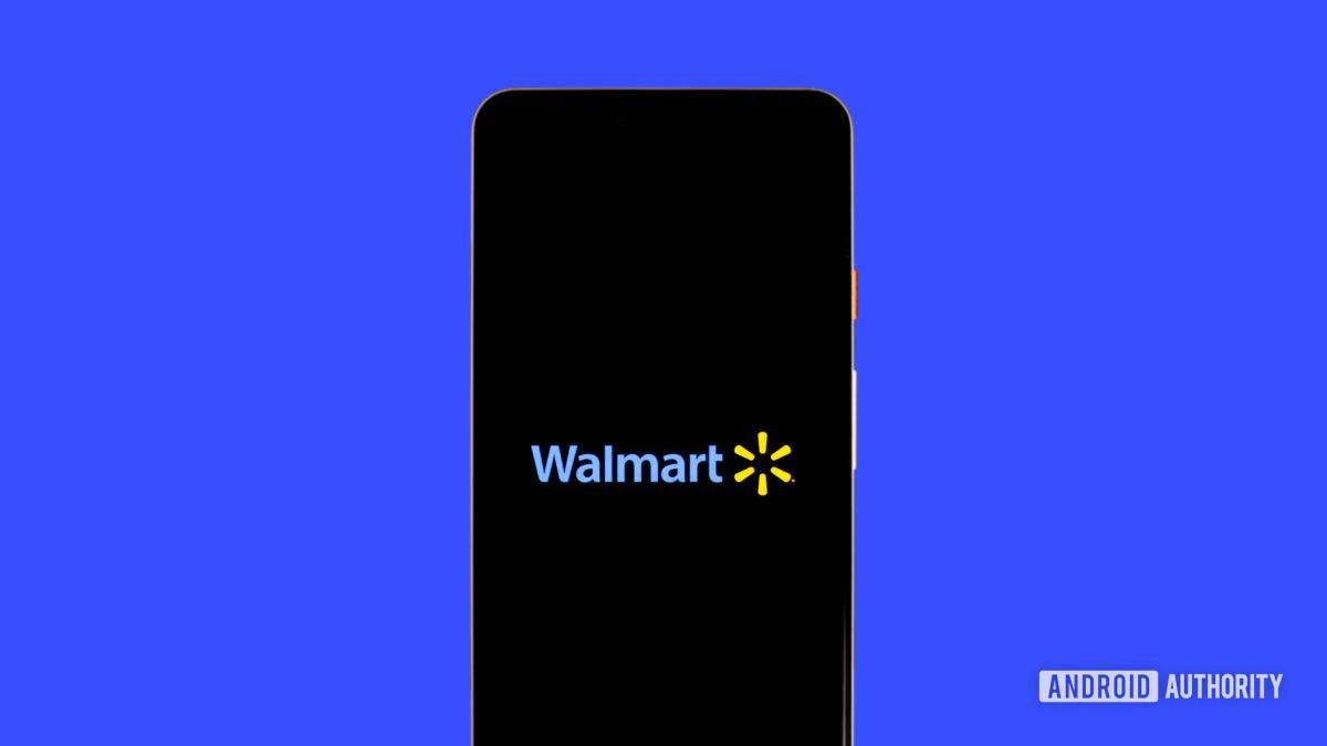 Walmart logo on phone stock photo