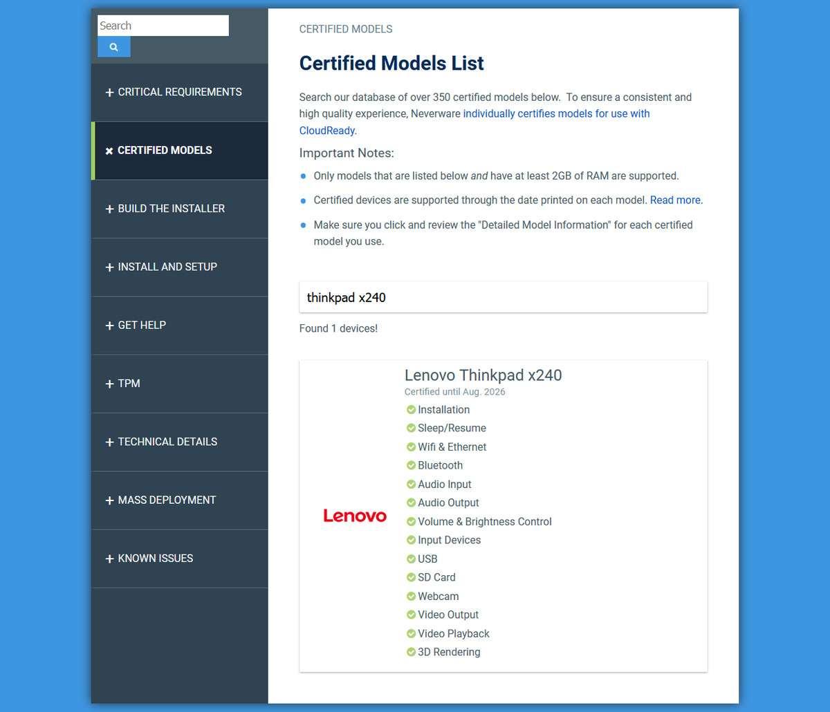 Neverware CloudReady Lenovo ThinkPad X240 feature support