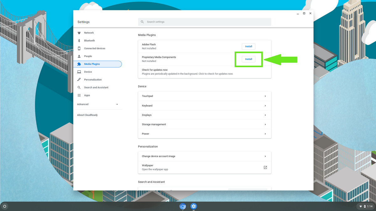 Neverware CloudReady Proprietary Media Components installation