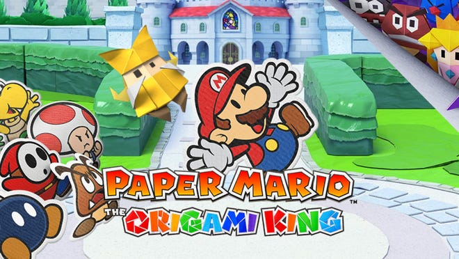 A hero banner for the Paper Mario: Origami King game, with Mario himself in the center.