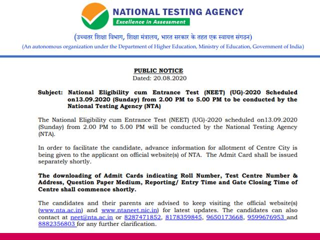Neet Confess Card 2020 Obtain To Start Off Shortly Test Centres Allotted To Candidates Confirms Nta Get Facts Here