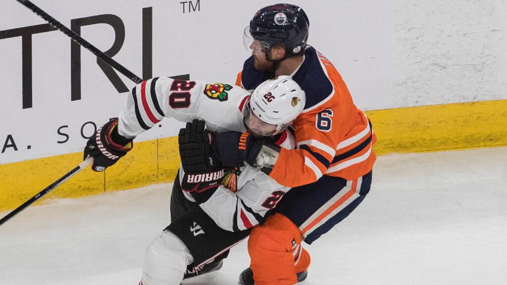Oilers' Adam Larsson unfit to play in Game 3 vs. Blackhawks