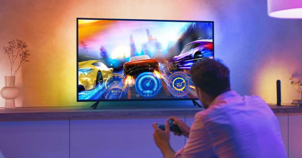 The new Philips Hue light strip is attached to your TV and syncs with what's on the screen