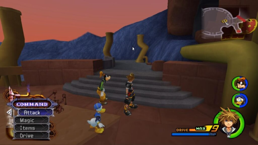 An example of video game health bars, in Kingdom Hearts.