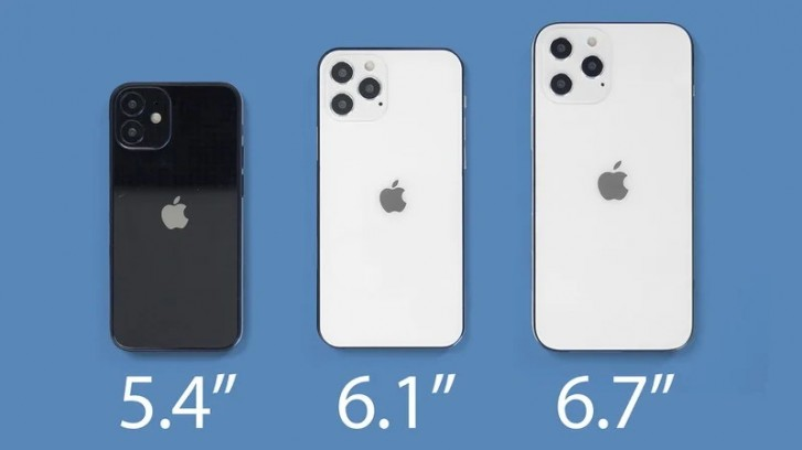 Two 6.1-inch iPhone 12s boot first, followed by 5.4-inch and 6.7-inch