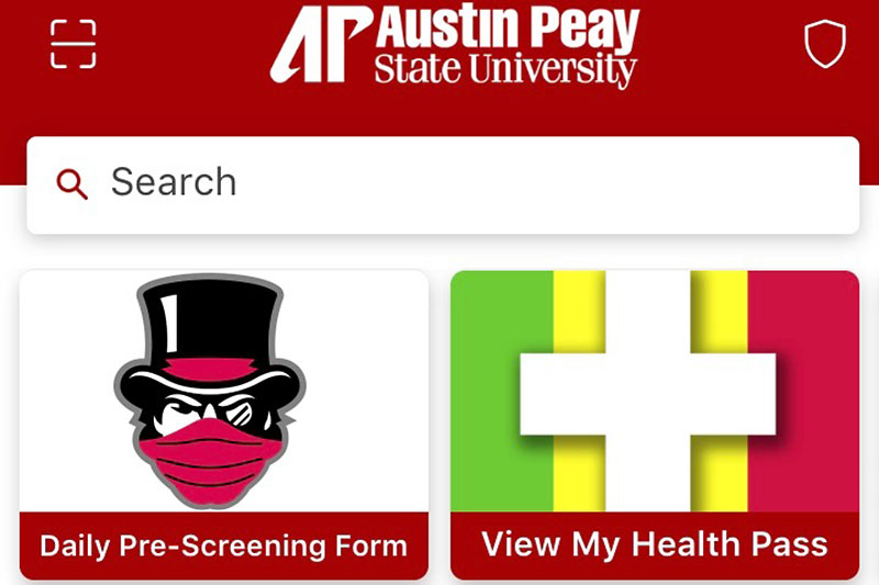 Download the Austin Pi State University Peay Mobile for COVID-19 self-screening, QR code check-in