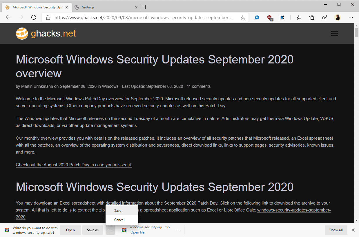 New Microsoft Edge opens/saves/cancels download prompt