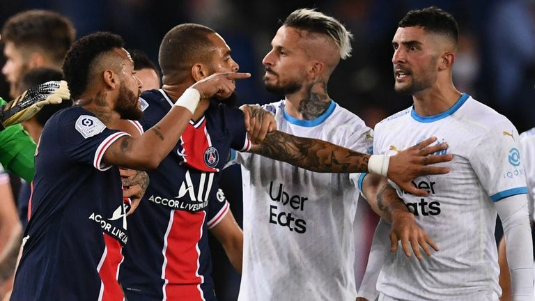 The Ligue 1 match between Paris Saint-Germain and Marseille ended in a big scuffle