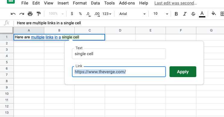 Today I learned that you can now link multiple words to a single cell in Google Sheets