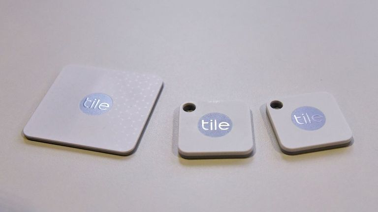 The Tile Bluetooth Tracker will be seen at CES 2018 in Las Vegas on January 10, 2018. The tiles are compatible with Amazon Alexa and Google Home. / AFP PHOTO / MANDEL NGAN (Photo credits should be read as MANDEL NGAN / AFP via Getty Images)