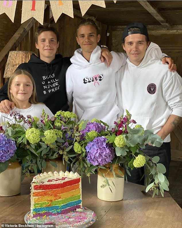 Family: Last month, Mia celebrated Romeo's 18th birthday with the addition of Victoria (46), David (45), Brooklyn (21) and Cruz (15).