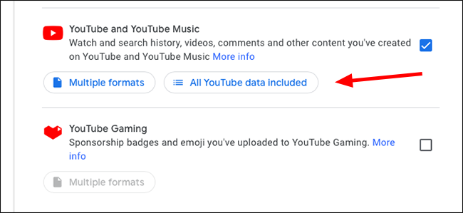 Google Data Export All YouTube