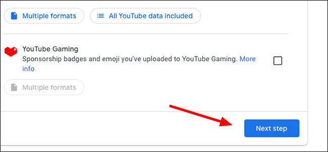 Google Data Export Next Step Button